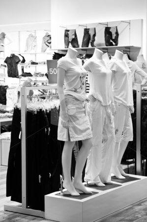 Clothing store stock photo, Clothing store display with mannequins in black and white by Elena Elisseeva