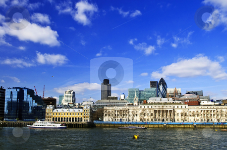London skyline from Thames river stock photo, London skyline view from Thames river against blue sky by Elena Elisseeva