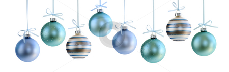 Christmas ornaments stock photo, Various Christmas decoration hanging isolated on white by Elena Elisseeva