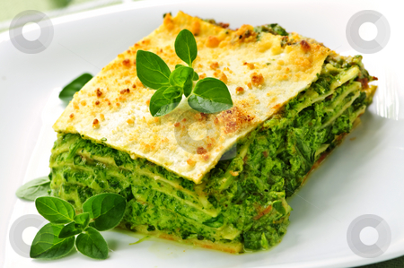 Plate of vegeterian lasagna stock photo, Serving of fresh baked vegeterian spinach lasagna on a plate by Elena Elisseeva
