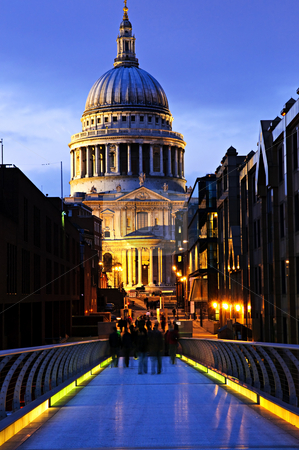 St. Paul's Cathedral  from Millennium Bridge in London at night stock photo, View of St. Paul's Cathedral in London from Millennium Bridge at night by Elena Elisseeva