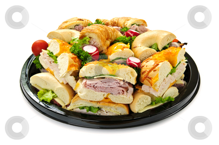 Sandwich tray stock photo, Isolated assorted platter of sandwiches with meat and vegetables by Elena Elisseeva