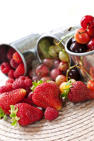 Fruits and berries stock photo, Assorted summer fruits and berries in metal pails by Elena Elisseeva