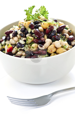 Bean salad stock photo, Isolated vegeterian salad of various beans in bowl close up by Elena Elisseeva