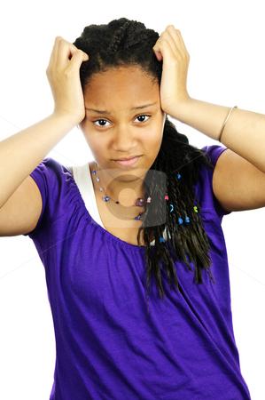 Teenage girl frustrated stock photo, Isolated portrait of frustrated black teenage girl by Elena Elisseeva