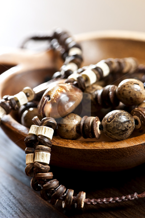 Hand crafted jewelry stock photo, Hand made wood shell and bone jewelry by Elena Elisseeva