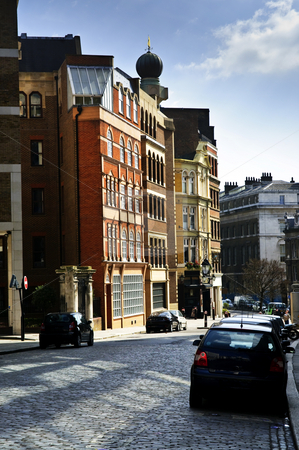 London street stock photo, Cobblestone paved street in London on sunny day by Elena Elisseeva