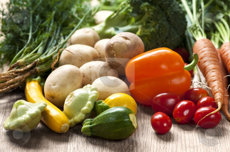 Vegetables stock photo, Bunch of whole assorted fresh organic vegetables by Elena Elisseeva