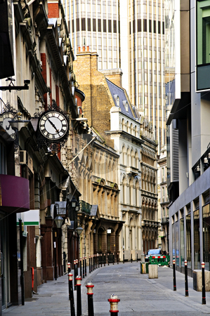 London street stock photo, Old and new buildings in city of London by Elena Elisseeva