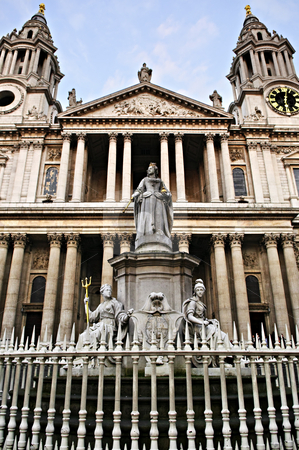 St. Paul's Cathedral London stock photo, St. Paul's Cathedral Great West Door in London by Elena Elisseeva