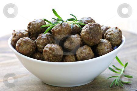 Meatballs stock photo, Fresh hot meatball appetizers served in white bowl by Elena Elisseeva