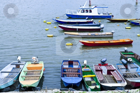 River boats on Danube stock photo, Many small fishing boats anchored on Danube river in Belgrade by Elena Elisseeva