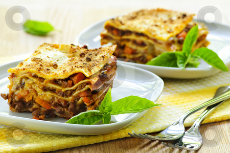 Plates of lasagna stock photo, Two servings of fresh baked lasagna on plates by Elena Elisseeva