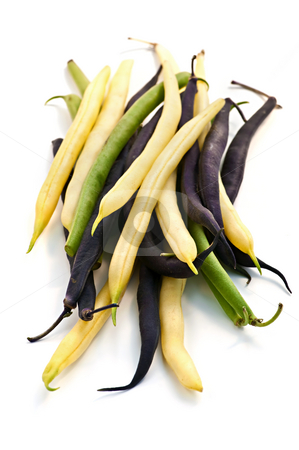 String beans stock photo, Pile of purple yellow and green string beans isolated on white by Elena Elisseeva