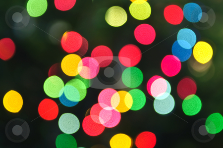 Blurred Christmas lights stock photo, Out of focus multicolored Christmas light background by Elena Elisseeva