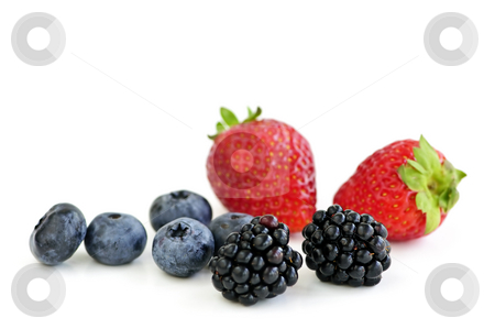 Assorted fresh berries stock photo, Closeup of assorted fresh berries isolated on white background by Elena Elisseeva
