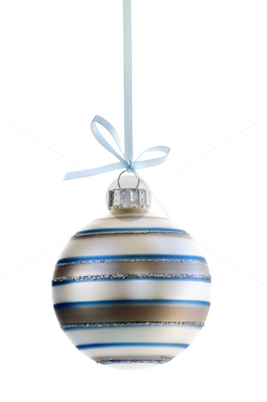 Christmas ornament stock photo, Striped Christmas decoration hanging isolated on white by Elena Elisseeva