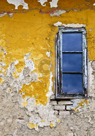 Grunge background wall and window stock photo, Old weathered painted wall and window for grunge background by Elena Elisseeva