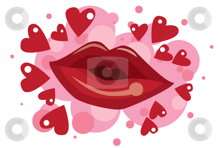 Kissing With Lipstick stock photo, An image of a lipstick kiss surrounded by hearts by Verapol Chaiyapin