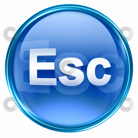 Esc icon blue, isolated on white background stock photo, Esc icon blue, isolated on white background by Andrey Zyk