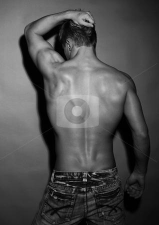 Male model stock photo, Muscled male model in studio by Andrei Vishnyakov