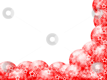 Elegant Christmas Corner Frame stock photo, Elegant Christmas Corner Frame with Red Balls and Lacy Stars over Blank White Background by Skovoroda