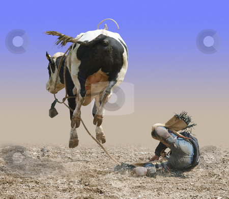 The Rear View stock photo, Cowboy Falling of a Bucking Bull isolated with path by Margo Harrison