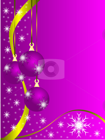 Abstract Christmas Baubles Illustration stock vector clipart, An abstract Christmas vector illustration with purple baubles on a lighter backdrop with snowflakes and room for text by Mike Price