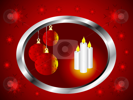 Christmas Vector Background stock vector clipart, A christmas vector background with baubles litby candles in a silver frame on a red backdrop by Mike Price