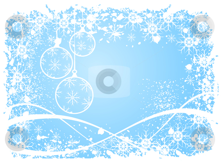 A sky blue grunge christmas scene stock vector clipart, A sky blue christmas scene with baubles, swirls and snowflakes by Mike Price