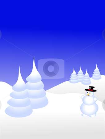 A sky blue christmas scene with a snowman on a snowy background stock vector clipart, A sky blue christmas scene with a snowman on a snowy background with white snow covered trees by Mike Price