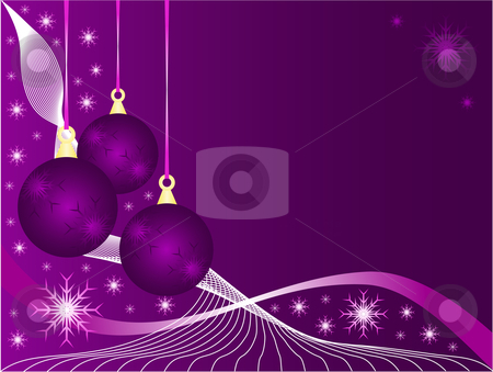 An abstract Christmas vector illustration stock vector clipart, An abstract Christmas vector illustration with purple baubles on a lighter backdrop with snowflakes and room for text by Mike Price