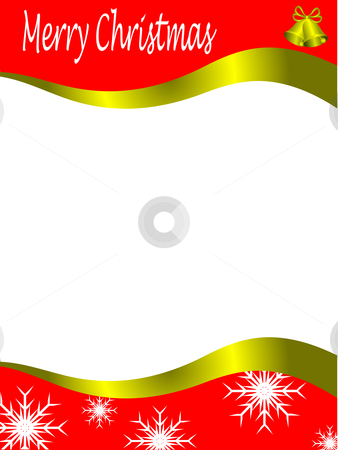 Vector christmas stationary wirh top and bottom christmas border stock vector clipart, Vector christmas stationary wirh top and bottom christmas borders with room for a letter by Mike Price