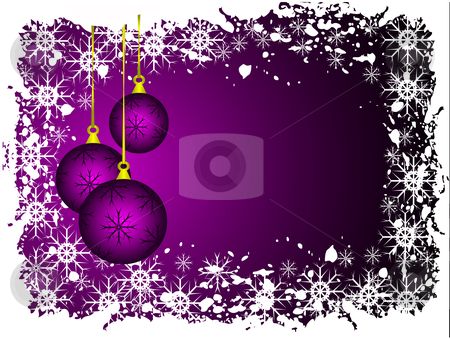 Christmas grunge background  stock vector clipart, An abstract Christmas vector illustration with purple baubles on a lighter backdrop with grunge snowflakes and room for text by Mike Price