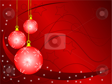 An abstract Christmas vector illustration with red baubles on a  stock vector clipart, An abstract Christmas vector illustration with red baubles on a darker backdrop with white snowflakes and room for text by Mike Price
