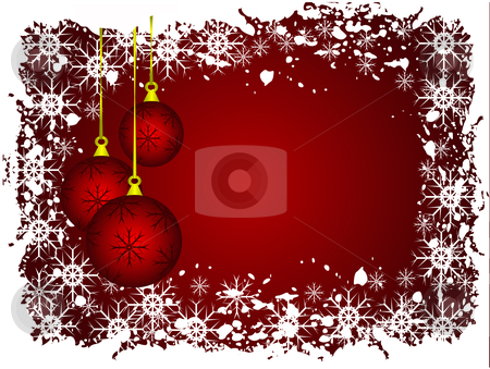 An abstract grunge Christmas vector illustration stock vector clipart, An abstract Christmas vector illustration with red baubles on a darker backdrop witha grunge snow border by Mike Price
