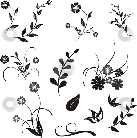 Design ellement stock vector clipart, Floral design elements for decoration by Rimantas Abromas