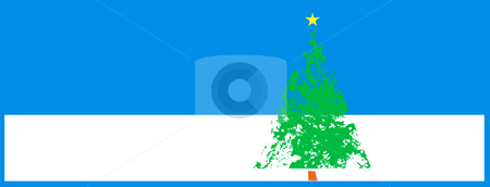 Christmas Tree in Snow stock vector clipart, Christmas tree with snow dividing the horizon. by Jeffrey Thompson