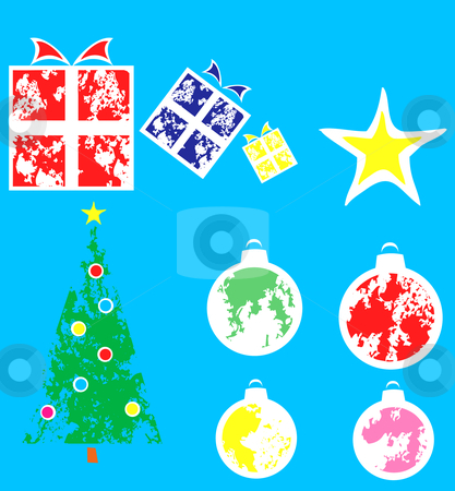 Group of Christmas Ornaments stock vector clipart, Mixed group of christmas spots and colorful ornaments. by Jeffrey Thompson
