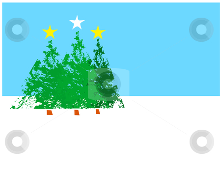 Three Christmas Trees stock vector clipart, Three Christmas trees with stars on top grouped together. by Jeffrey Thompson