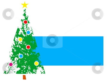 Christmas Tree #1 stock vector clipart, Christmas tree with ornaments and side bar for text. by Jeffrey Thompson