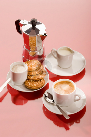 Coffee time stock photo, Drink series: cup of coffee and coffee pot by Gennady Kravetsky