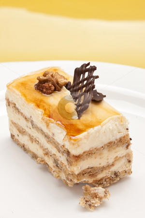 Pastry filled with custard stock photo, Food series: pastry with chocolate and circassian walnut by Gennady Kravetsky