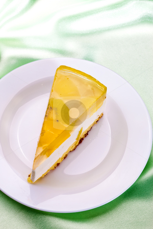Tart stock photo, Food series: fancy cake with yellow fruit  jelly by Gennady Kravetsky