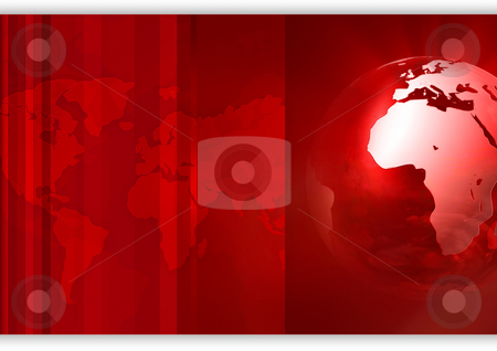 Red business background stock photo, Red globe with world map in background by Peter Lecko