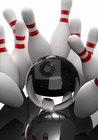 Bowling - the strikes stock photo, The strikes with glass bowling ball by Peter Lecko