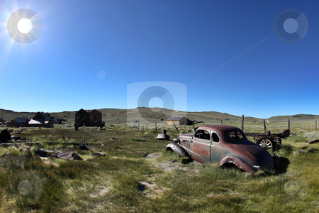 Vintage Rusted Car in Bodie California stock photo, Old Vintage Rusted Car in Bodie California by Katrina Brown