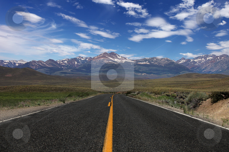 Rural Road in the Eastern Sierras stock photo, Wide Open Rural Road in the Eastern Sierras by Katrina Brown