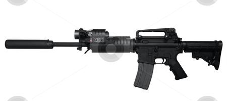 AR-15 Assault rifle side view stock photo, AR-15 Assault rifle side view Isolated on white background by Katrina Brown