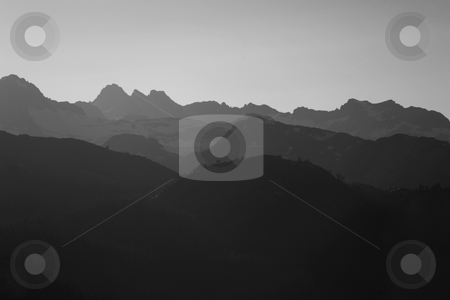 Misty Mountains in the Sierras stock photo, Ghostly Misty Mountains in the Sierras in Monochrome by Katrina Brown